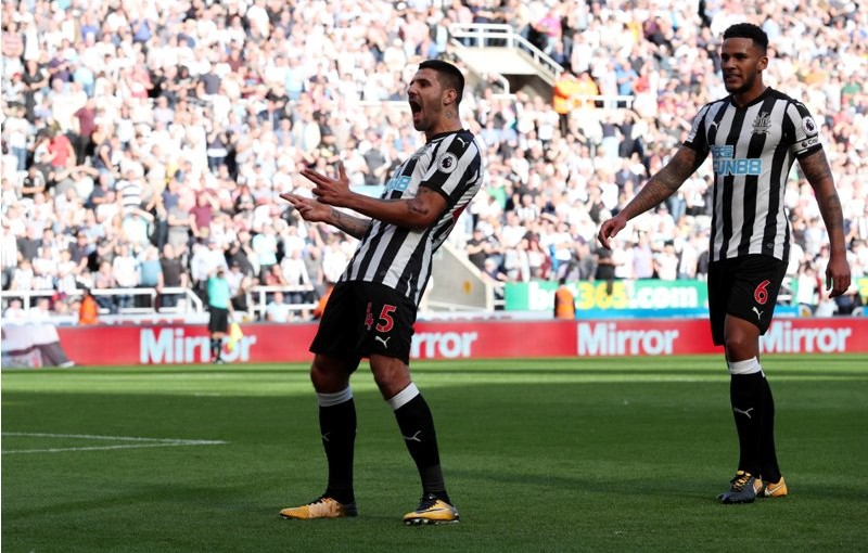 "Soccer Football - Premier League - Newcastle United vs West Ham United - Newcastle, Britain - August 26, 2017   Newcastle United's Aleksandar Mitrovic celebrates scoring their third goal    REUTERS/Scott Heppell    EDITORIAL USE ONLY. No use with unauthorized audio, video, data, fixture lists, club/league logos or ""live"" services. Online in-match use limited to 45 images, no video emulation. No use in betting, games or single club/league/player publications. Please contact your account representative for further details."